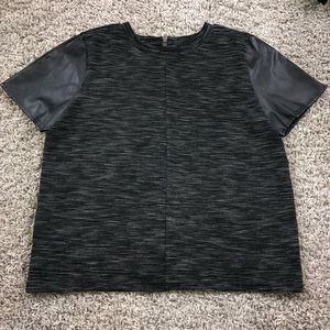 Loft Heathered Faux Leather Sleeve Top